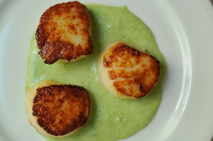 Food52: Seared Scallops with Spring Onion and Tarragon Cream